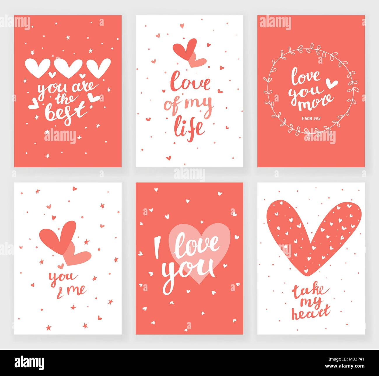 Set Of 6 Valentines Day Greeting Cards With Hearts And Hand Written