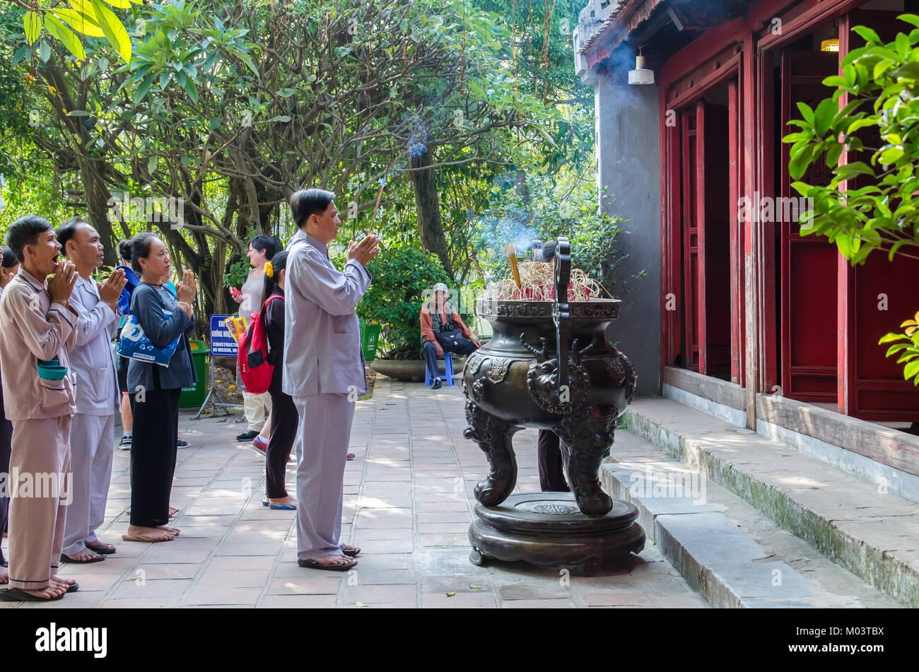 Hanoi,Vietnam - November 2,2017 : Prayers can seen praying in Ngoc Son Temple in Hanoi,Vietnam. - Stock Image