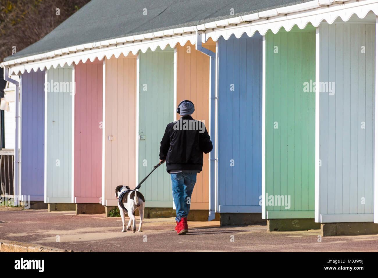 Bournemouth, Dorset, UK. 18th Jan, 2018. UK weather: a lovely sunny day at Bournemouth beach. Walking the dog along Stock Photo