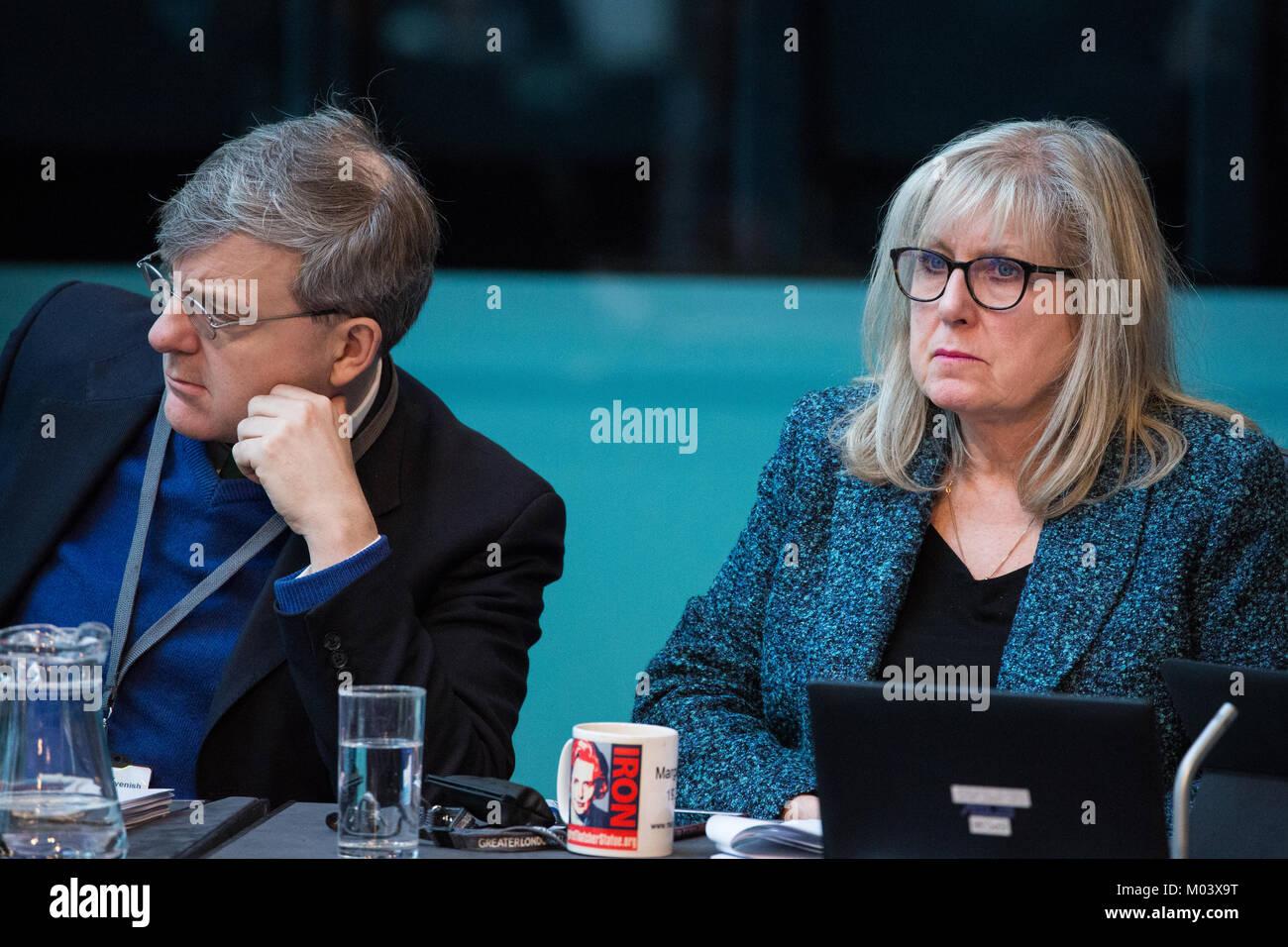 London, UK. 18th Jan, 2018. Tony Devenish and Susan Hall, Conservative London Assembly Members, listen to Mayor - Stock Image
