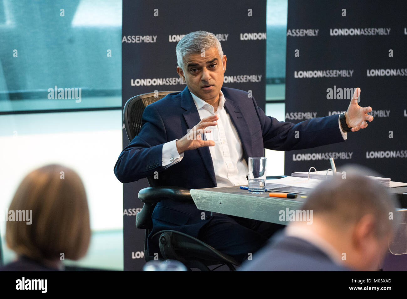 London, UK. 18th Jan, 2018. Mayor of London Sadiq Khan responds to questions during Mayor's Question Time at - Stock Image