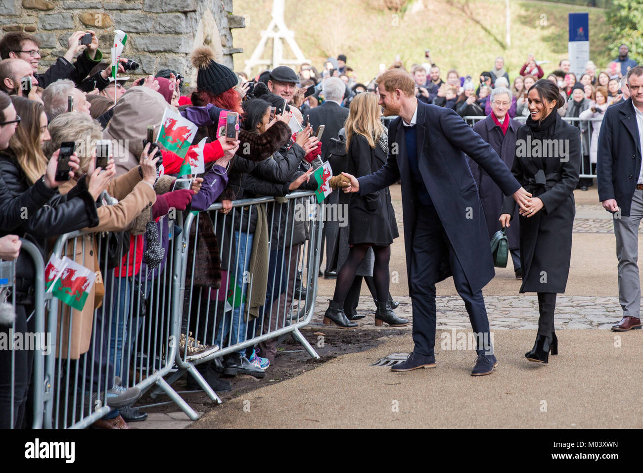 Cardiff, Wales, UK, January 18th 2018. Prince Harry and his fiance Meghan Markle arrive at Cardiff Castle. Credit: - Stock Image
