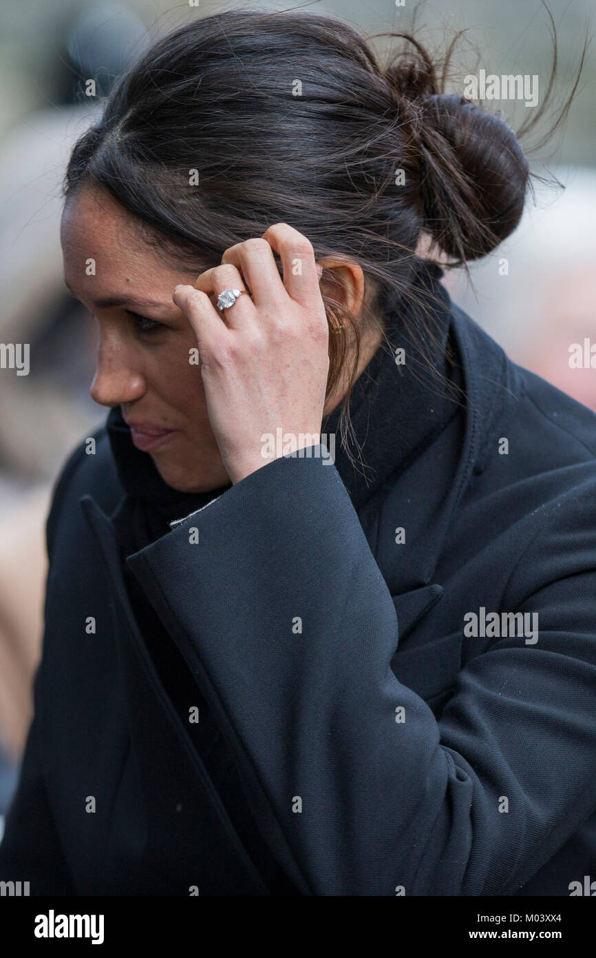 Cardiff, Wales, UK, January 18th 2018. Meghan Markle arrives at a blustery Cardiff Castle. Credit: Mark Hawkins/Alamy - Stock Image