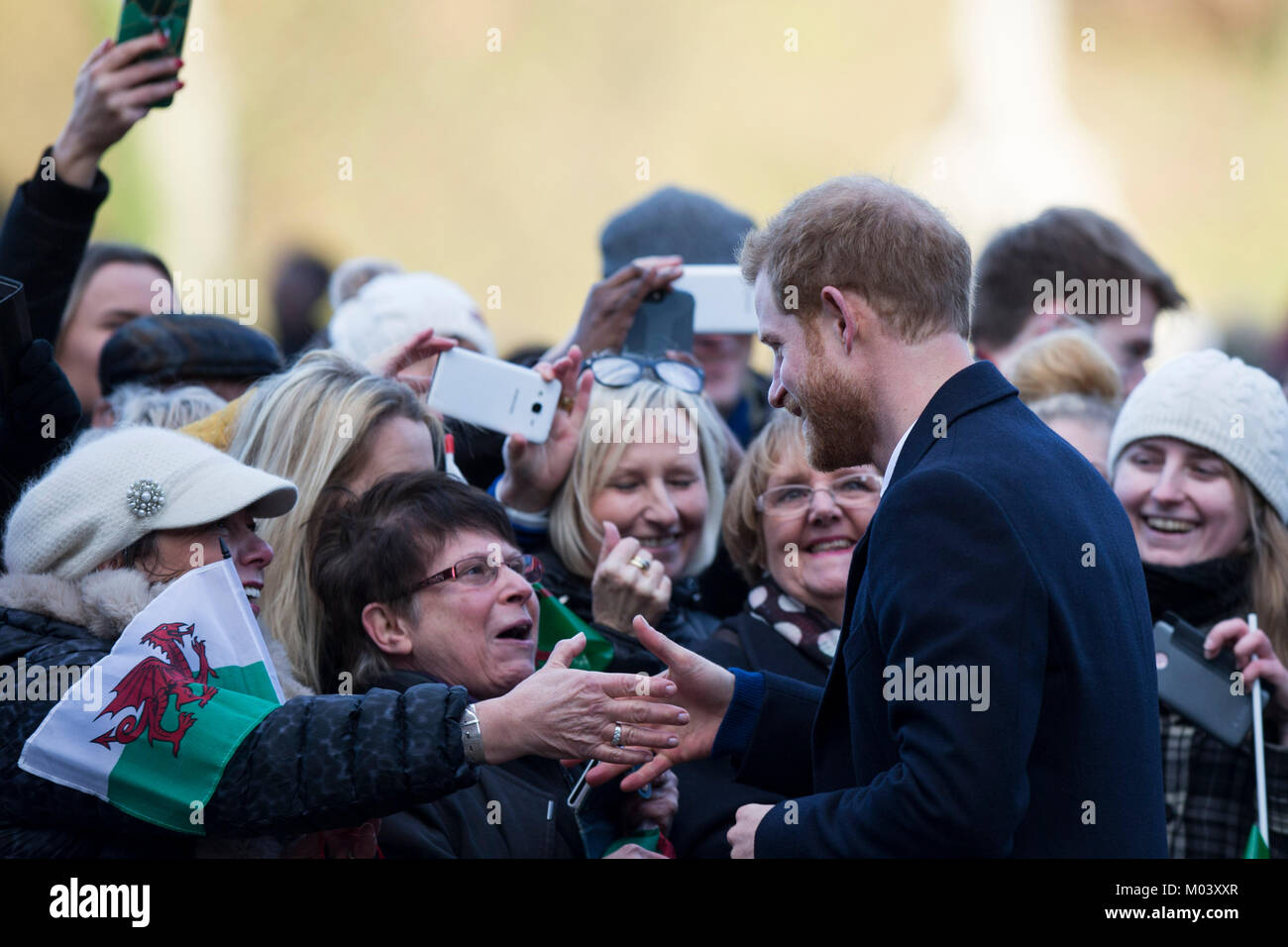 Cardiff, Wales, UK, January 18th 2018. Prince Harry greets the crowds on his arrival at Cardiff Castle. Credit: - Stock Image