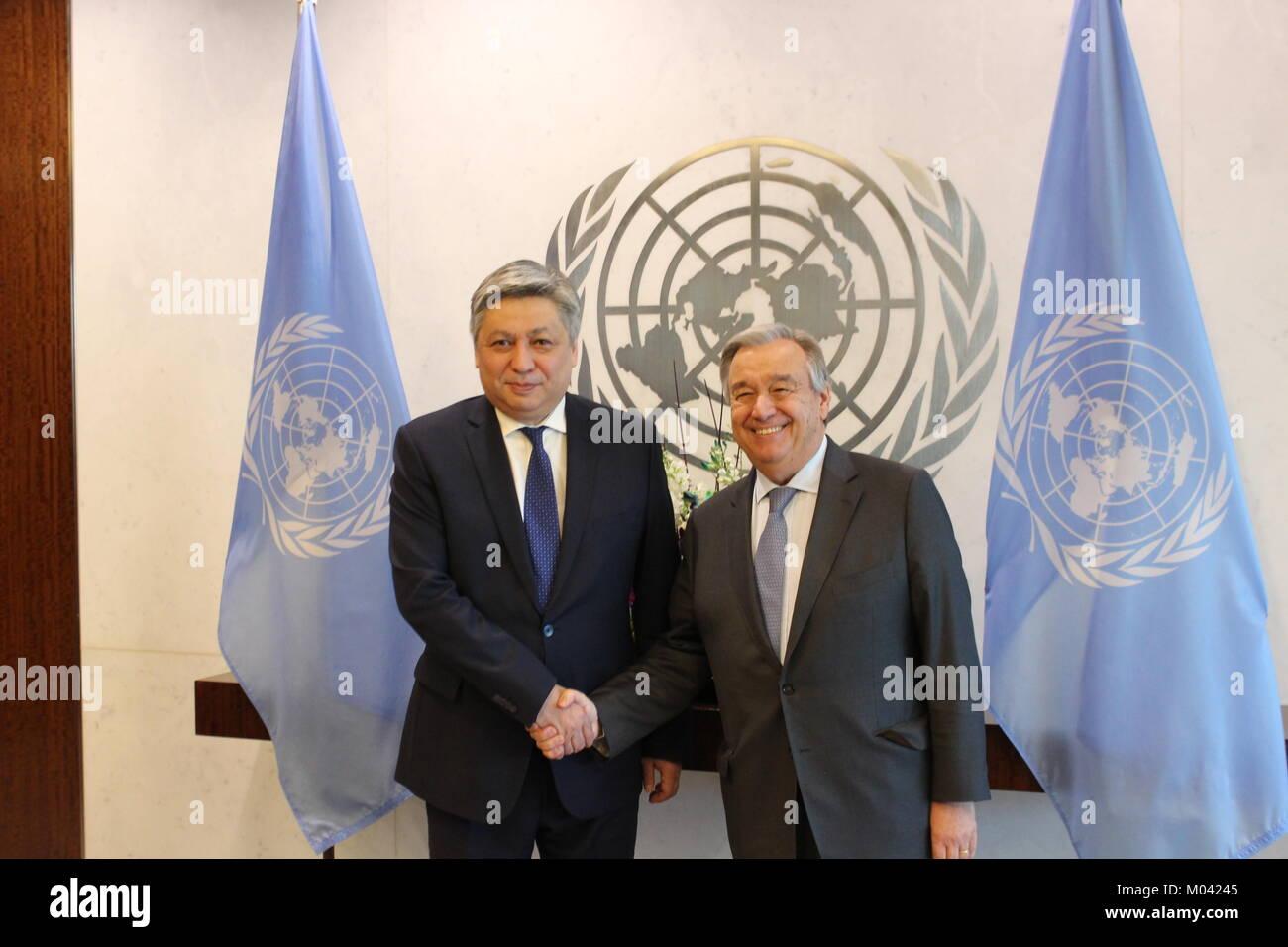 UN, New York, USA. 18th Jan, 2018. UN Sec-Gen Antonio Guterres met Kyrgyz Republic Foreign Minister Erlan Abdyldayev. Stock Photo