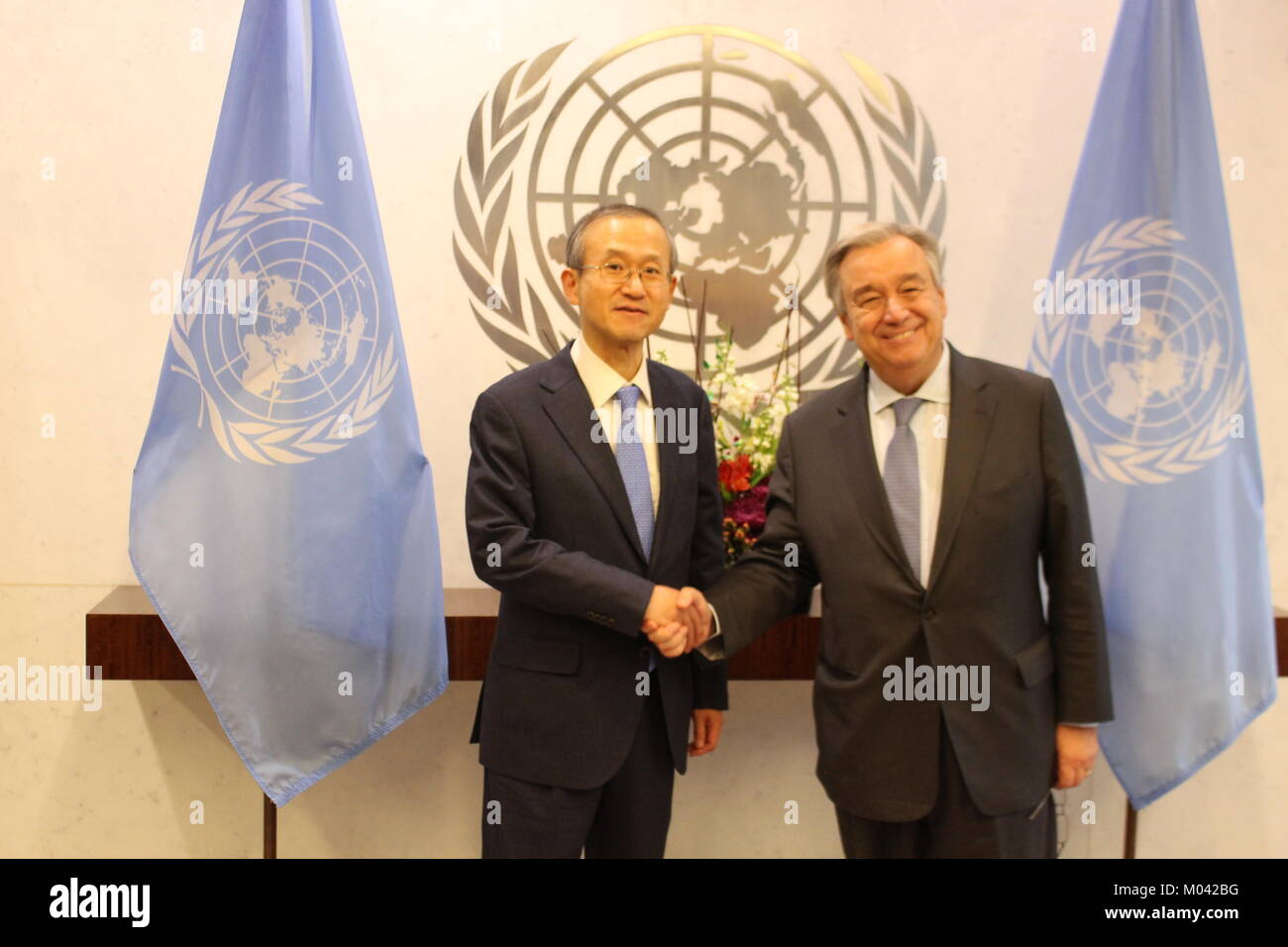 UN, New York, USA. 18th Jan, 2018. UN Sec-Gen Antonio Guterres met Lim Sung-nam, First Vice Foreign Minister, Republic Stock Photo
