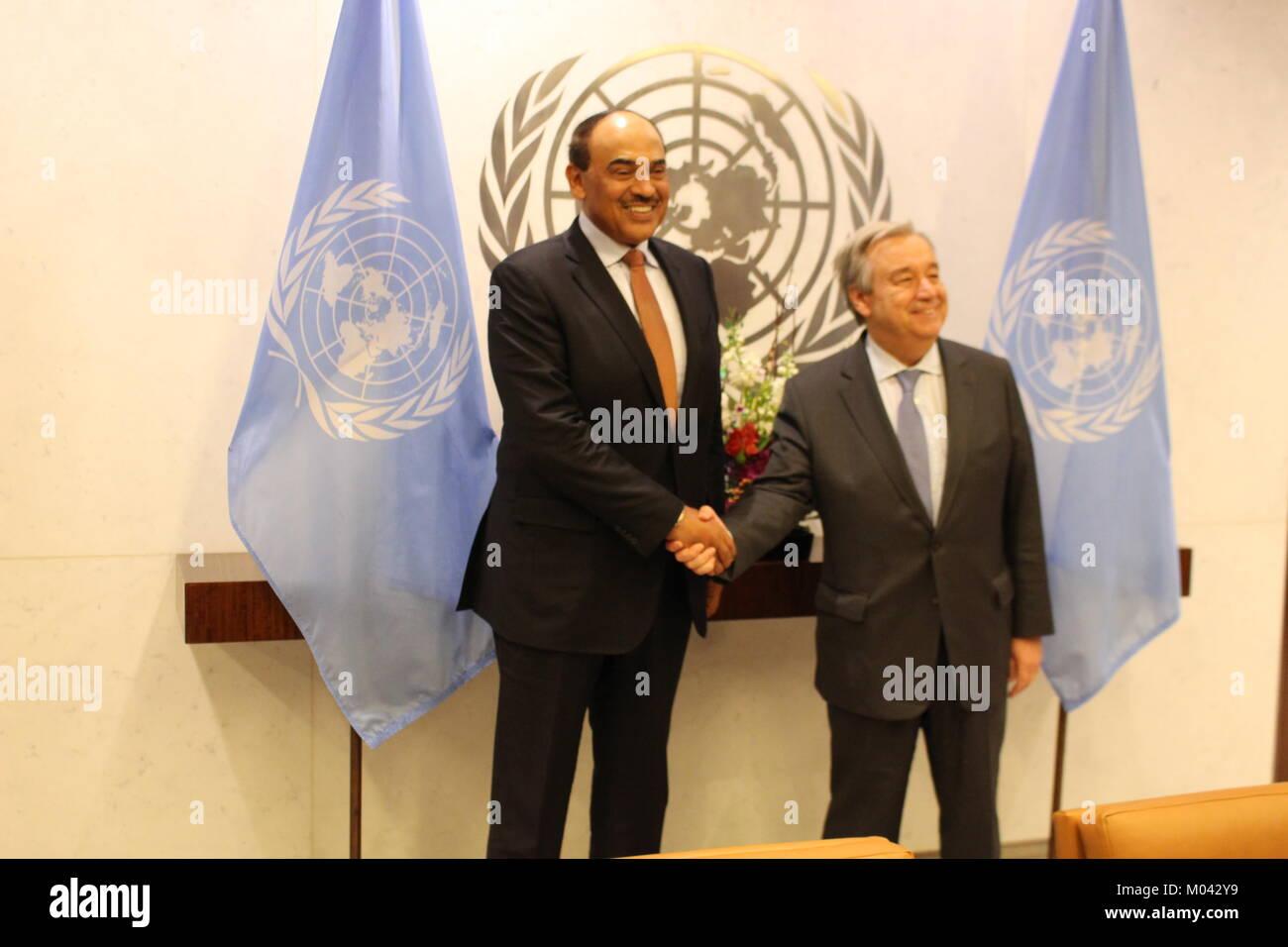 UN, New York, USA. 18th Jan, 2018. UN Sec-Gen Antonio Guterres met Sheikh Sabah Khaled Al Hamad Al Sabah, ForeignStock Photo