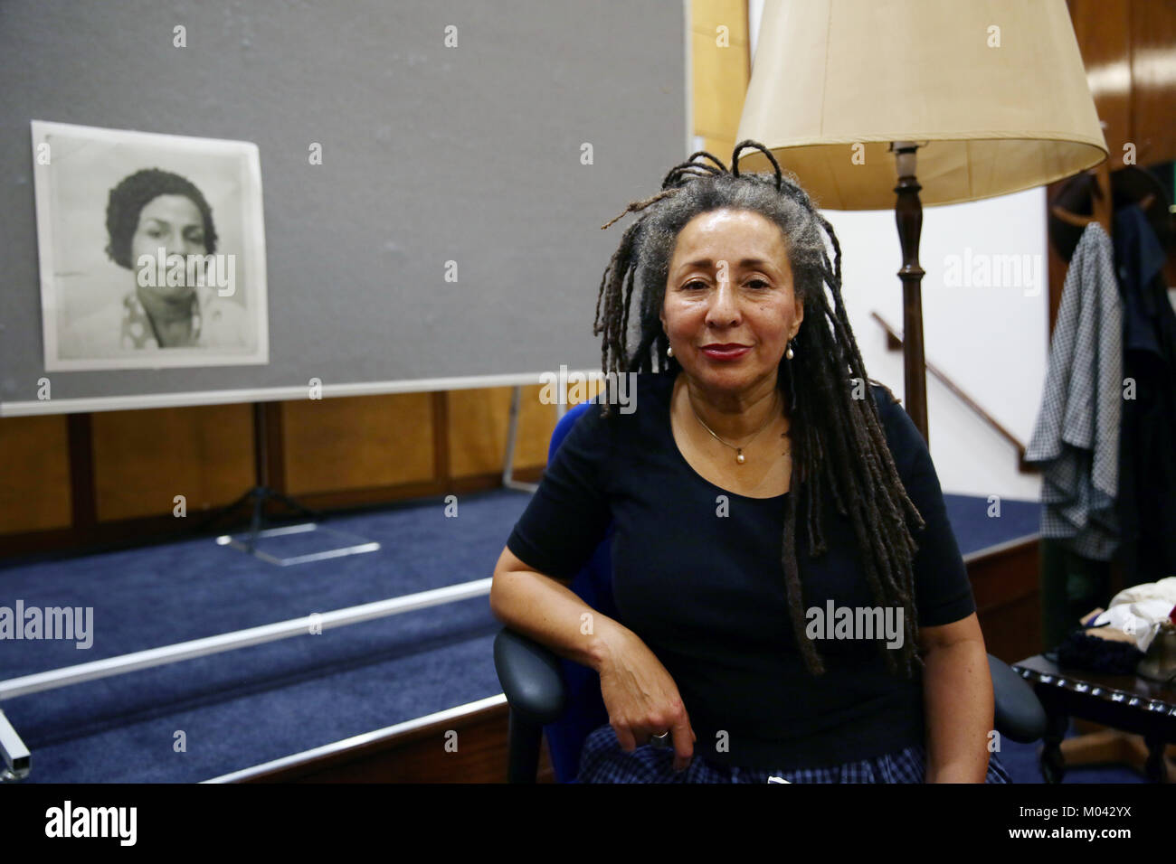 Manchester, UK. 18th january, 2018. Jackie Walker sat on a stage, a photo of her Mother is hung behind her. Her - Stock Image
