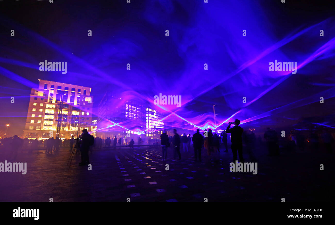 London, UK. 18th Jan, 2018. Waterlicht by Daan Roosegaarde in Granary Square as part of the Lumiere London Light Stock Photo