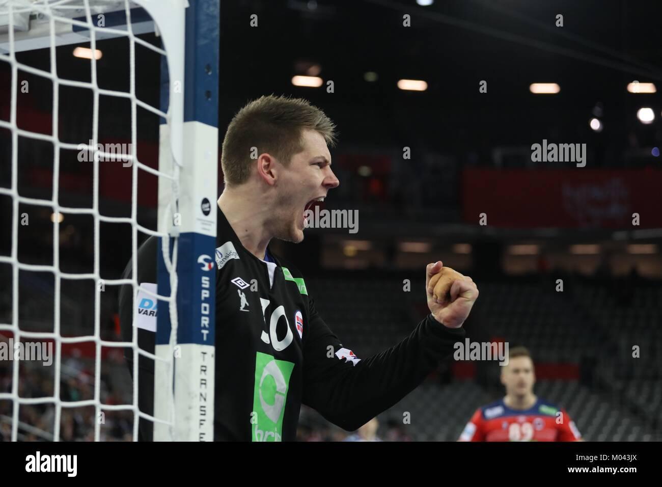 Zagreb, Croatia. 18th Jan, 2018. 18th January 2018, Arena Zagreb, Zagreb, Croatia; 2018 European Mens Handball Championship, - Stock Image