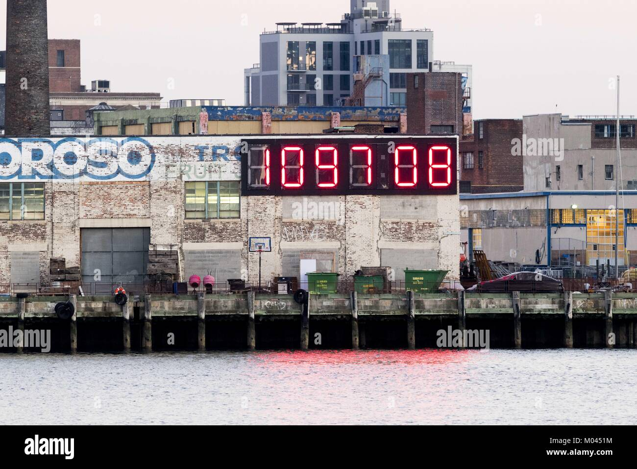 Queens Ny Usa 18th Jan 2018 Very Large Countdown Clock Showing