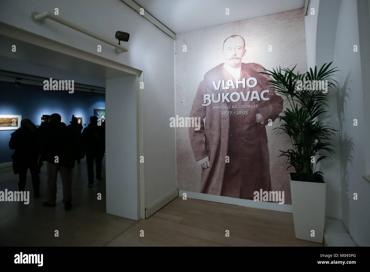 Zagreb, Croatia. 18th Jan, 2018. Portrait of the Vlaho Bukovac on the wall at the Cycle Vlaho Bukovac - Paris period Stock Photo