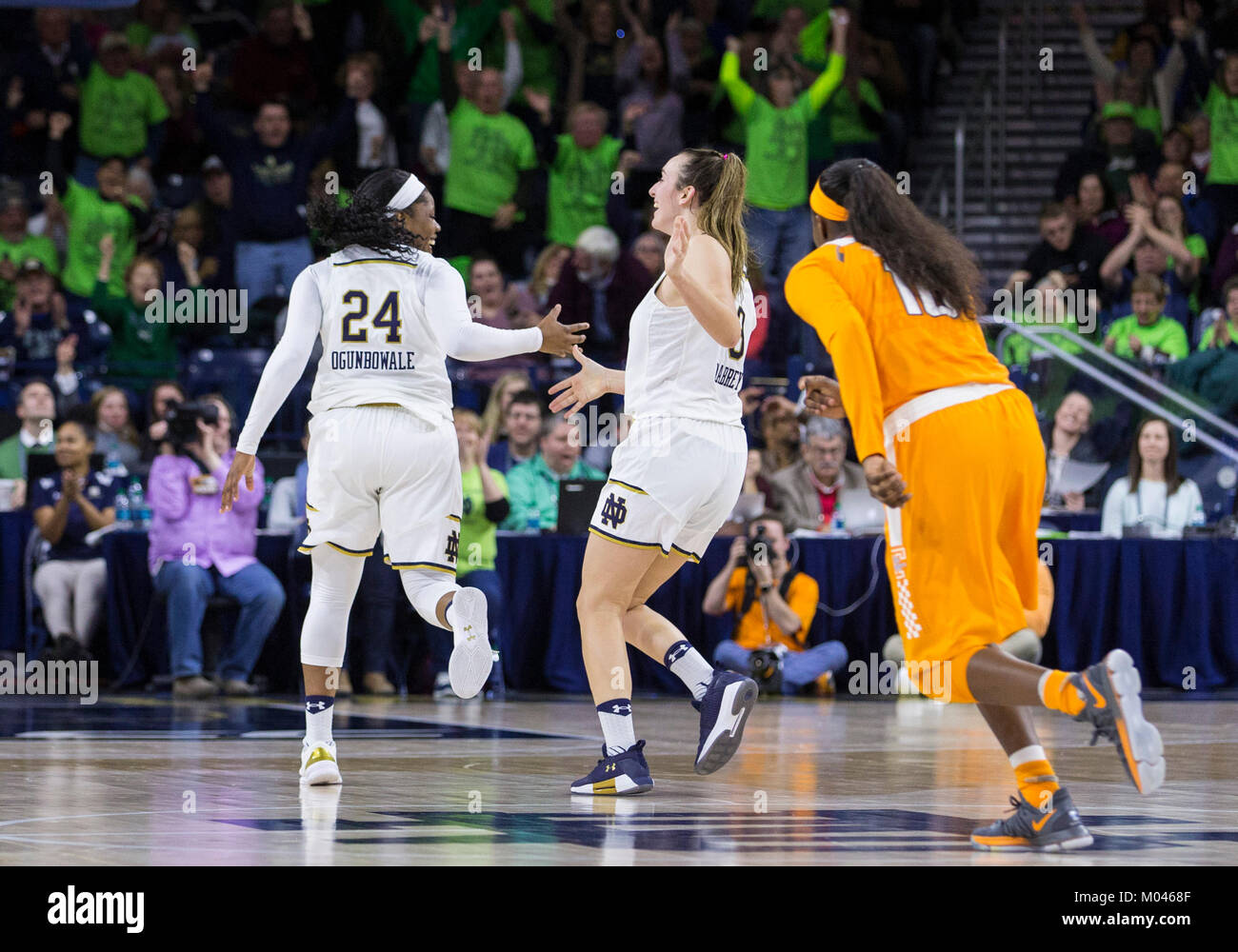 c99be2776f30 Notre Dame guard Arike Ogunbowale (24) and Notre Dame guard Marina Mabrey  (3) celebrate during NCAA Basketball game action between the Notre Dame  Fighting ...
