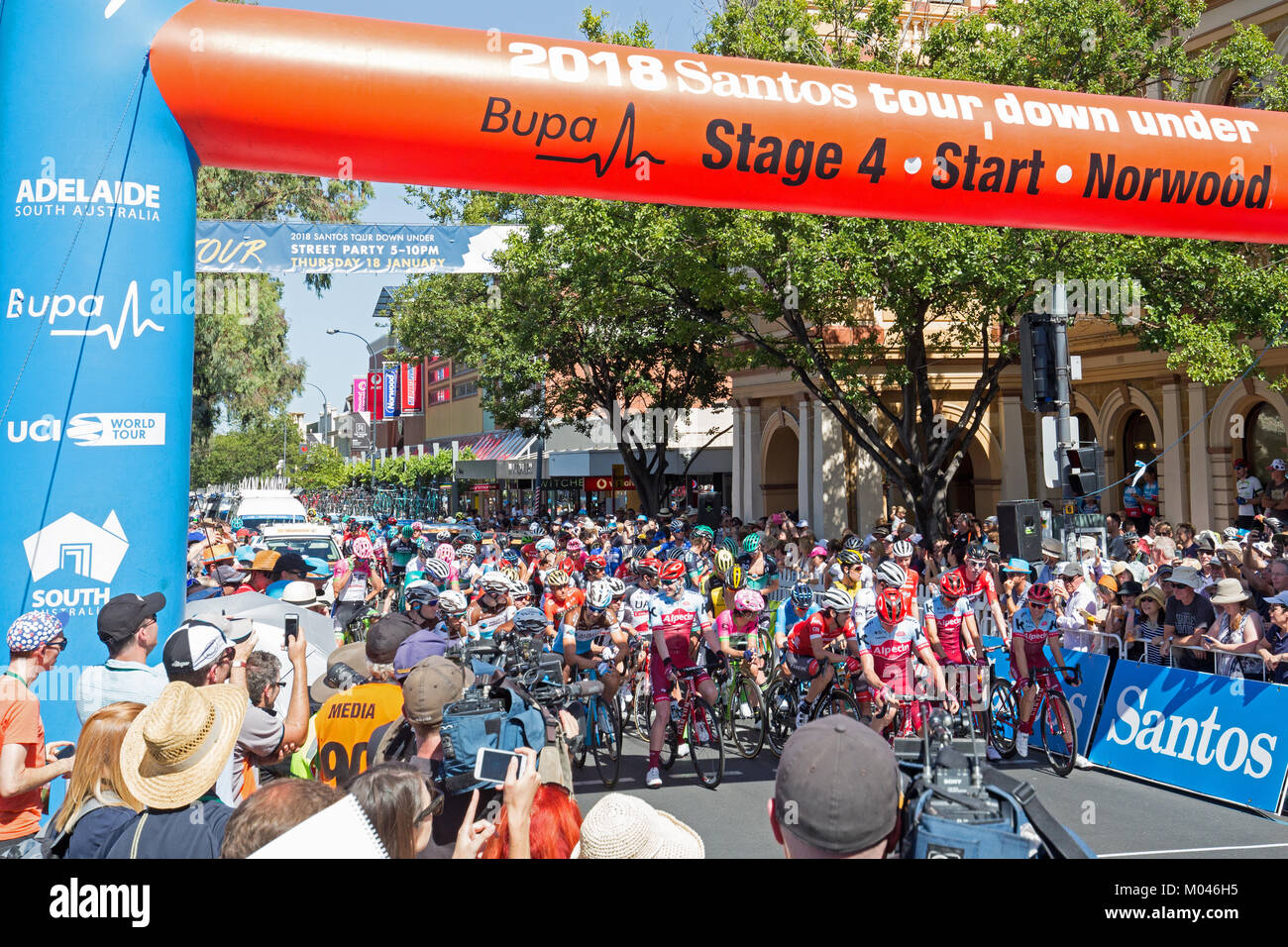 Adelaide Australia. 19th Jan, 2018. Riders preparing to set off on the start of stage 4 of the 2018 Tour Down Under - Stock Image