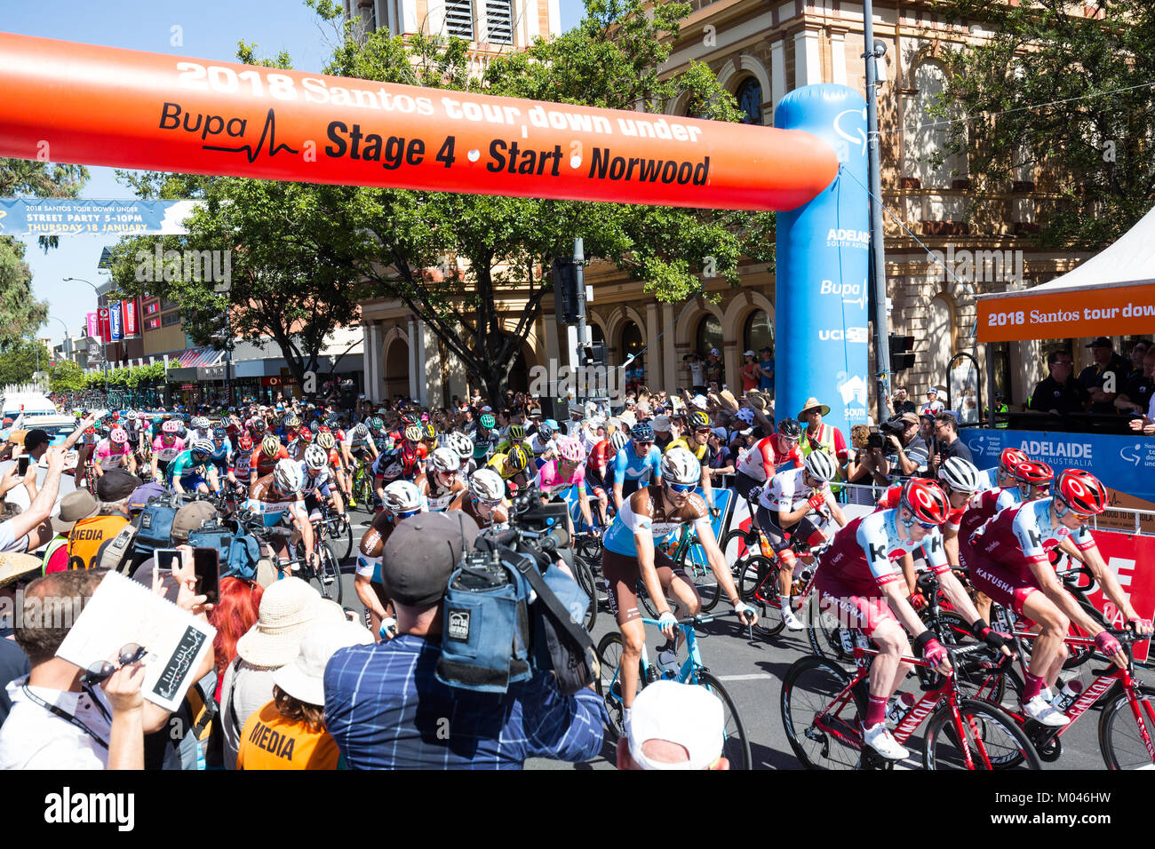 Adelaide Australia. 19th Jan, 2018. Riders starting stage 4 of the 2018 Tour Down Under in Adelaide Australia. 19 - Stock Image