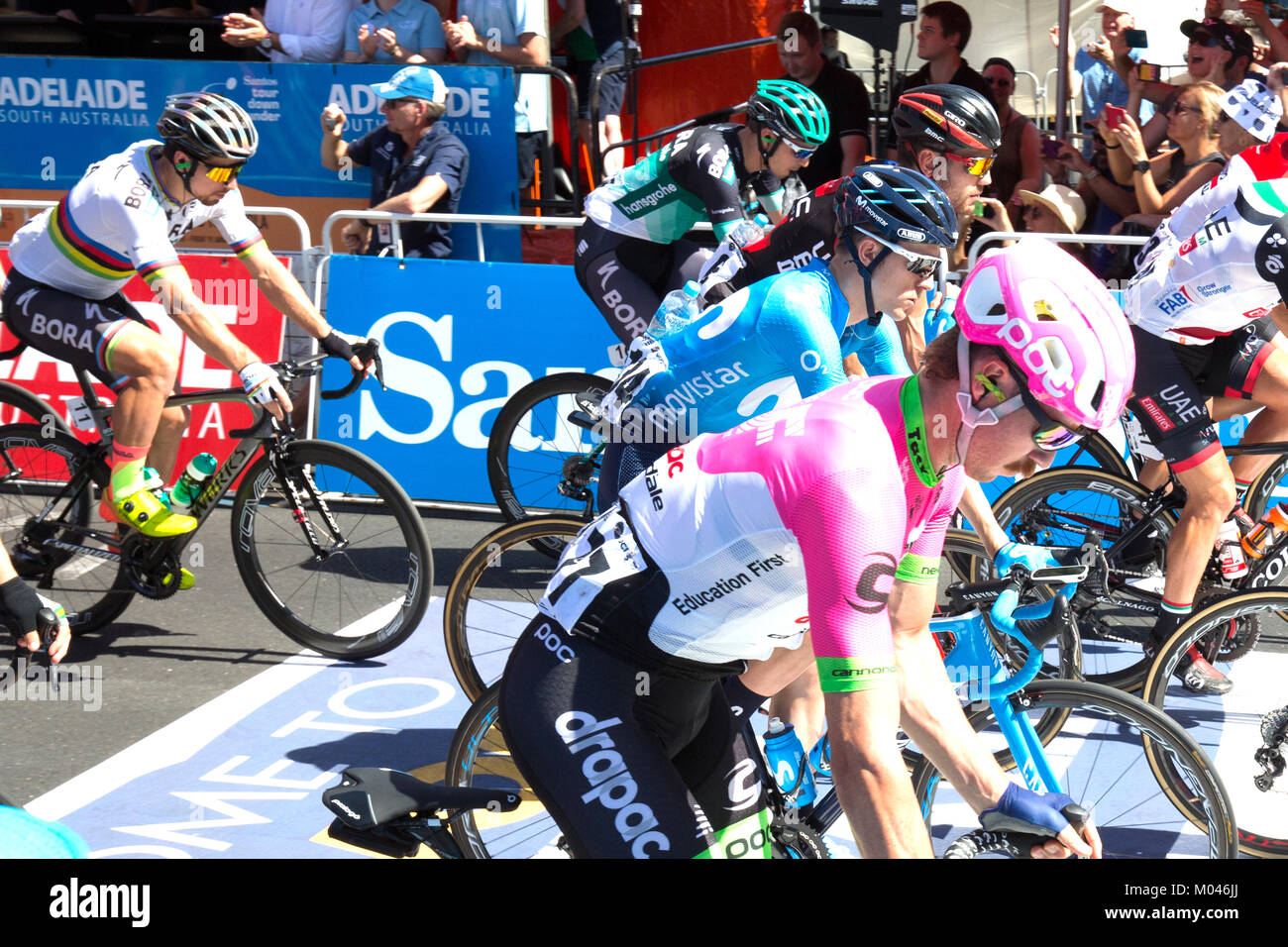 Adelaide Australia. 19th Jan, 2018. Riders starting stage 4 of the 2018 Tour Down Under in Adelaide Australia. The - Stock Image