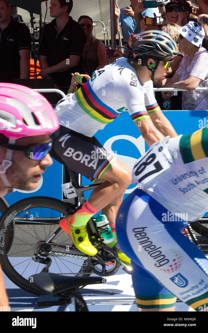 Adelaide Australia. 19th Jan, 2018. Riders starting stage 4 of the 2018 Tour Down Under in Adelaide Australia.The - Stock Image