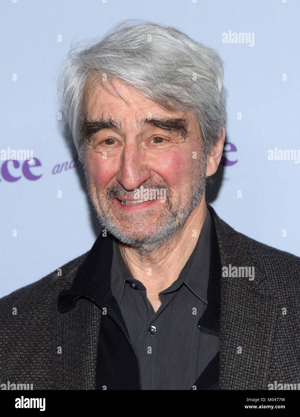 Culver City, California, USA. 18th Jan, 2018. Sam Waterston arrives for the premiere of the Netflix show ''Grace - Stock Image