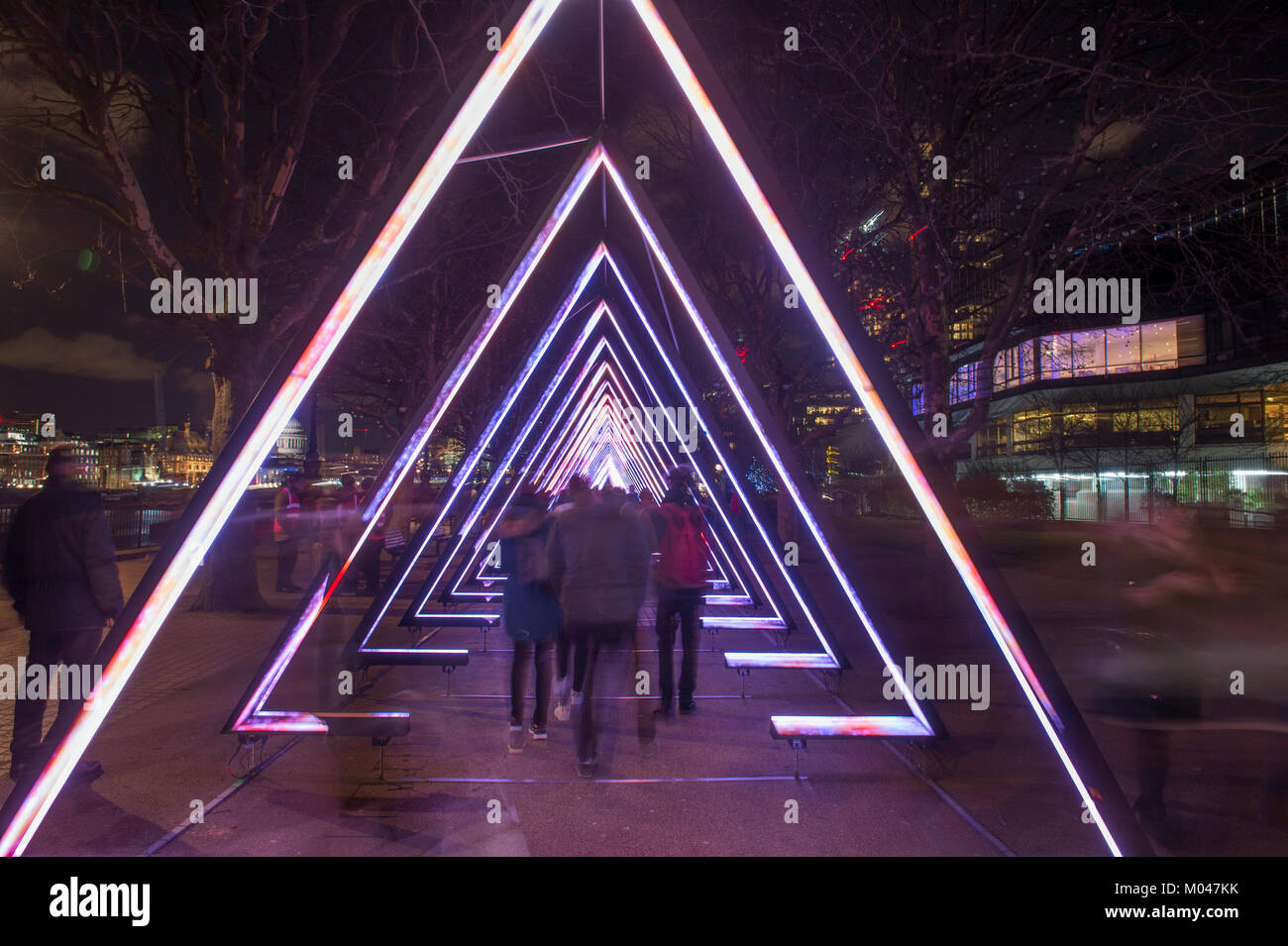 London, UK. 18th Jan, 2018. Locations around central London feature spectacular light displays created by 40 world - Stock Image