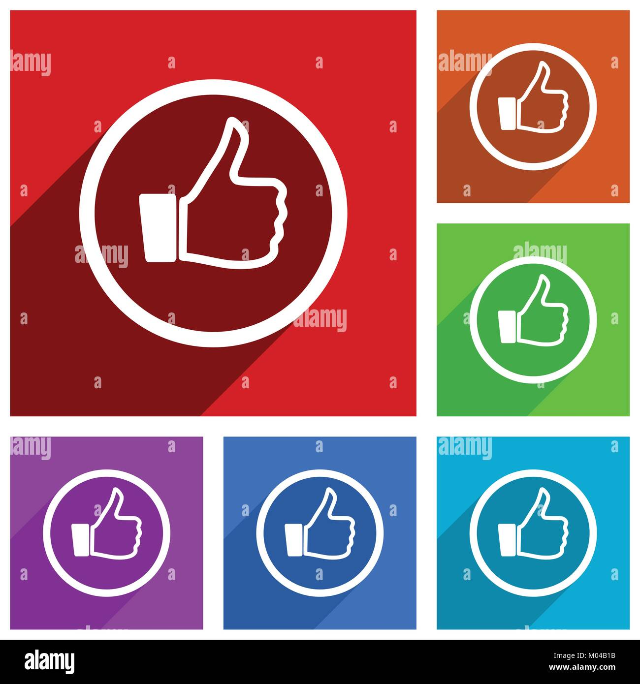 Like vector icons. Flat design colorful illustrations for web Stock ...