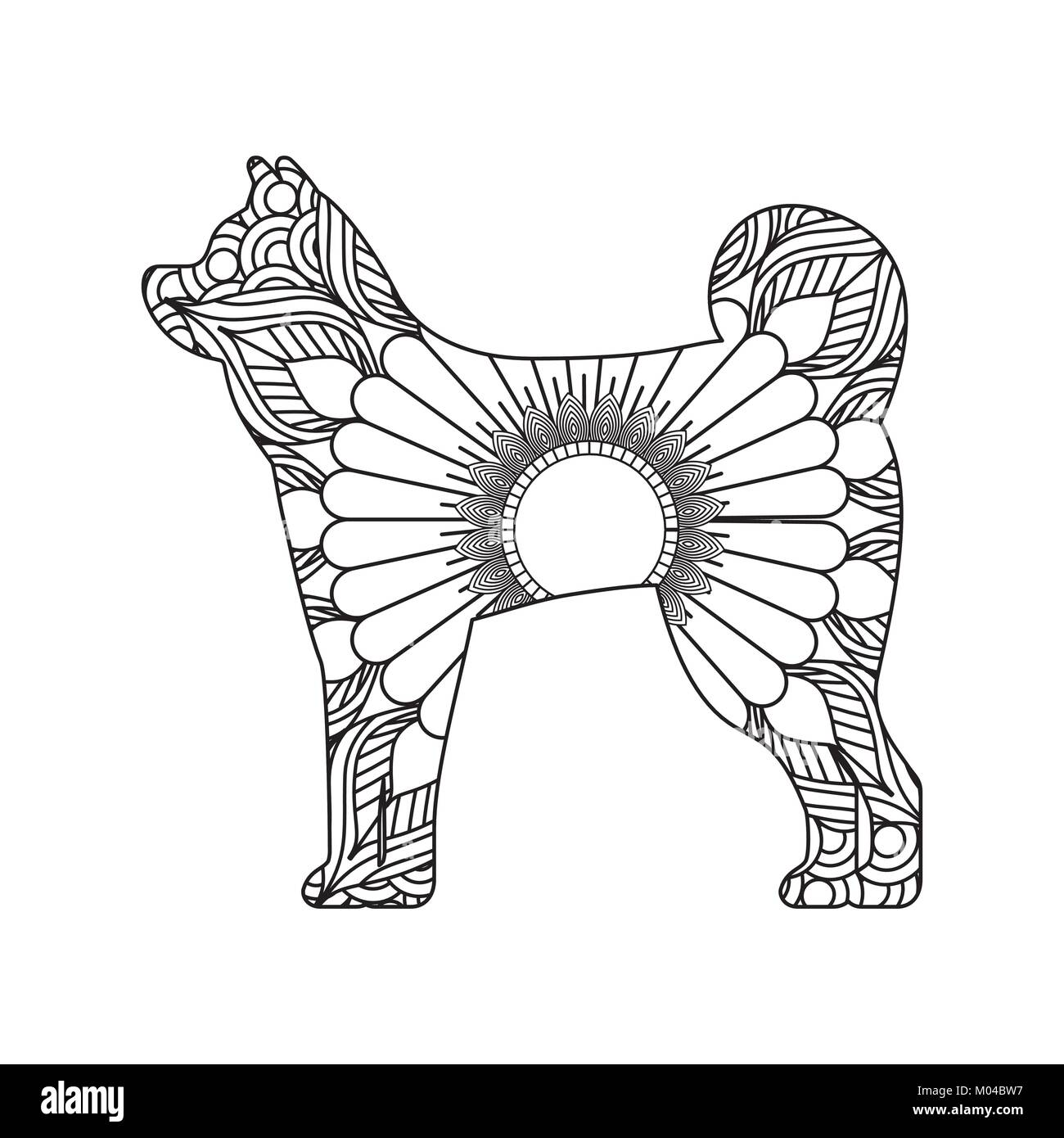drawing zentangle for dog adult coloring page Stock Vector Art ...