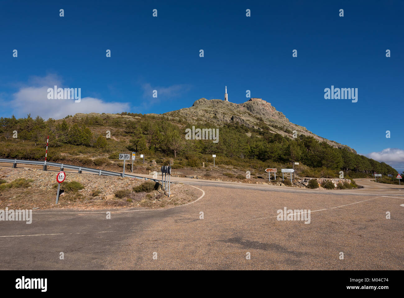 Mountain landscape, Road sign indication to Pena de Francia famous destination in Salamanca, Spain. - Stock Image