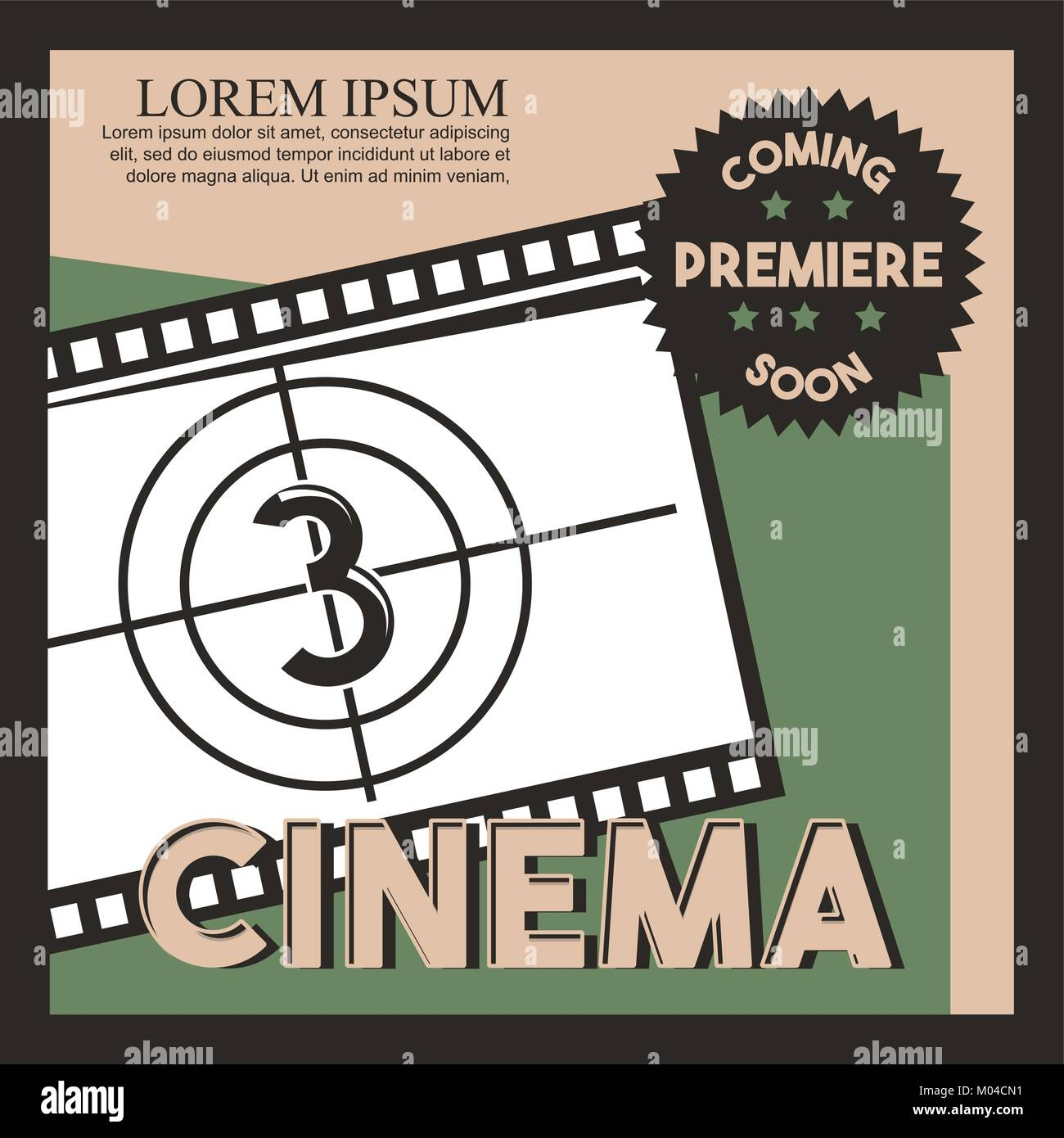 cinema coming soon poster film strip countdown - Stock Image