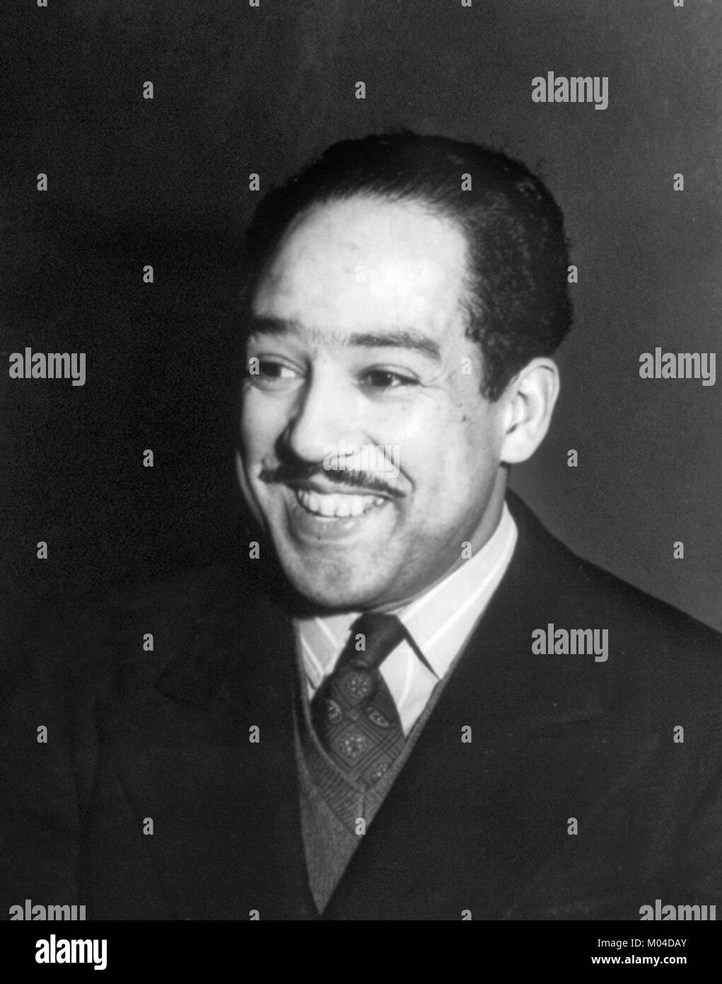 Langston Hughes. Portrait of the American poet, playwright and acivist James Mercer Langston Hughes (1902-1967) - Stock Image