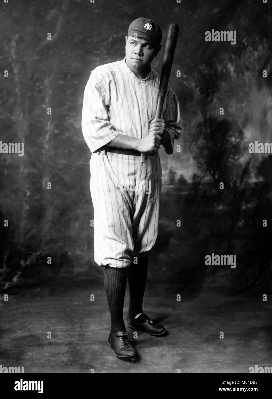 Babe Ruth. Portrait of the American baseball player George Herman 'Babe' Ruth Jr. (1895-1948), c.1920 - Stock Image