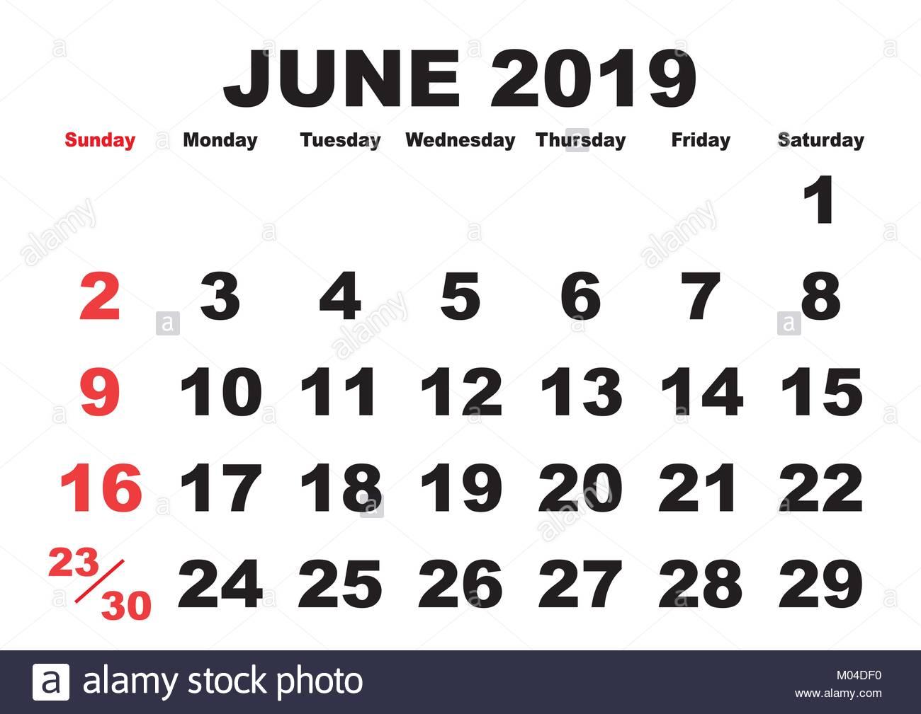 2019 Calendar June Month Vector Printable Calendar Monthly