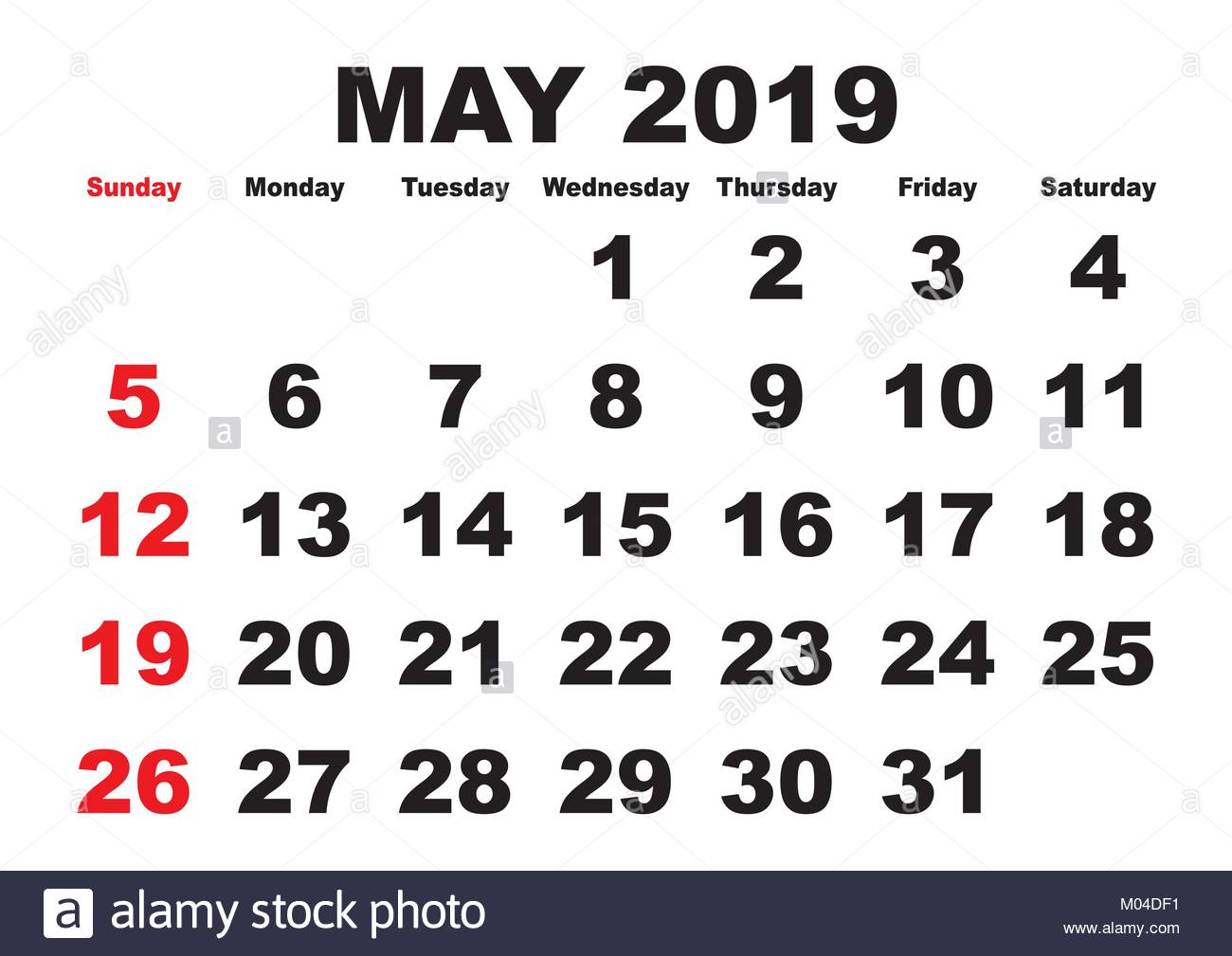 2019 calendar May month  Vector printable calendar  Monthly