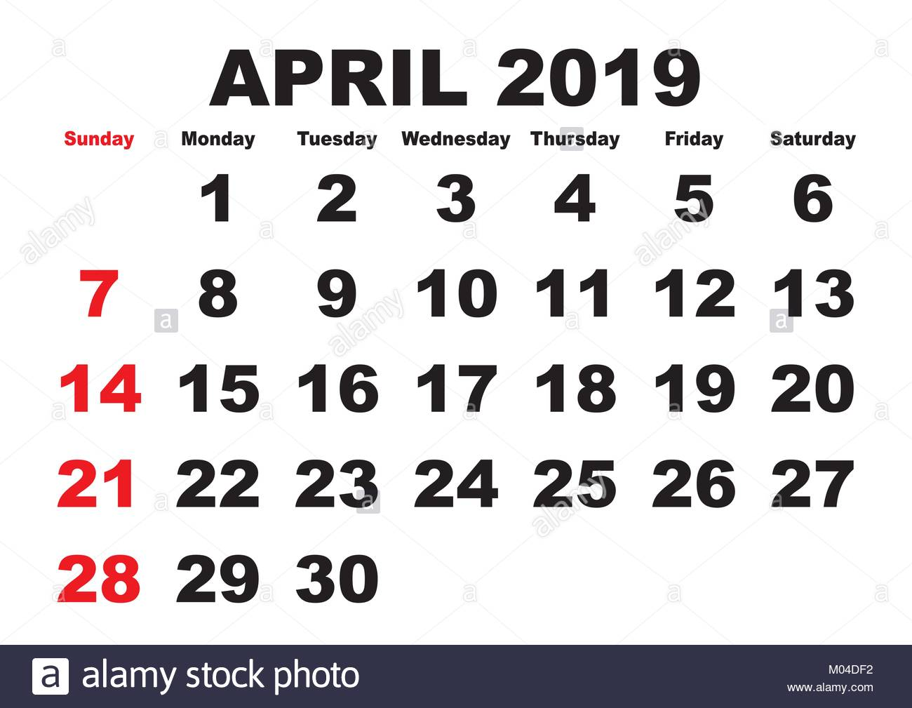 2019 Calendar April Month Vector Printable Calendar