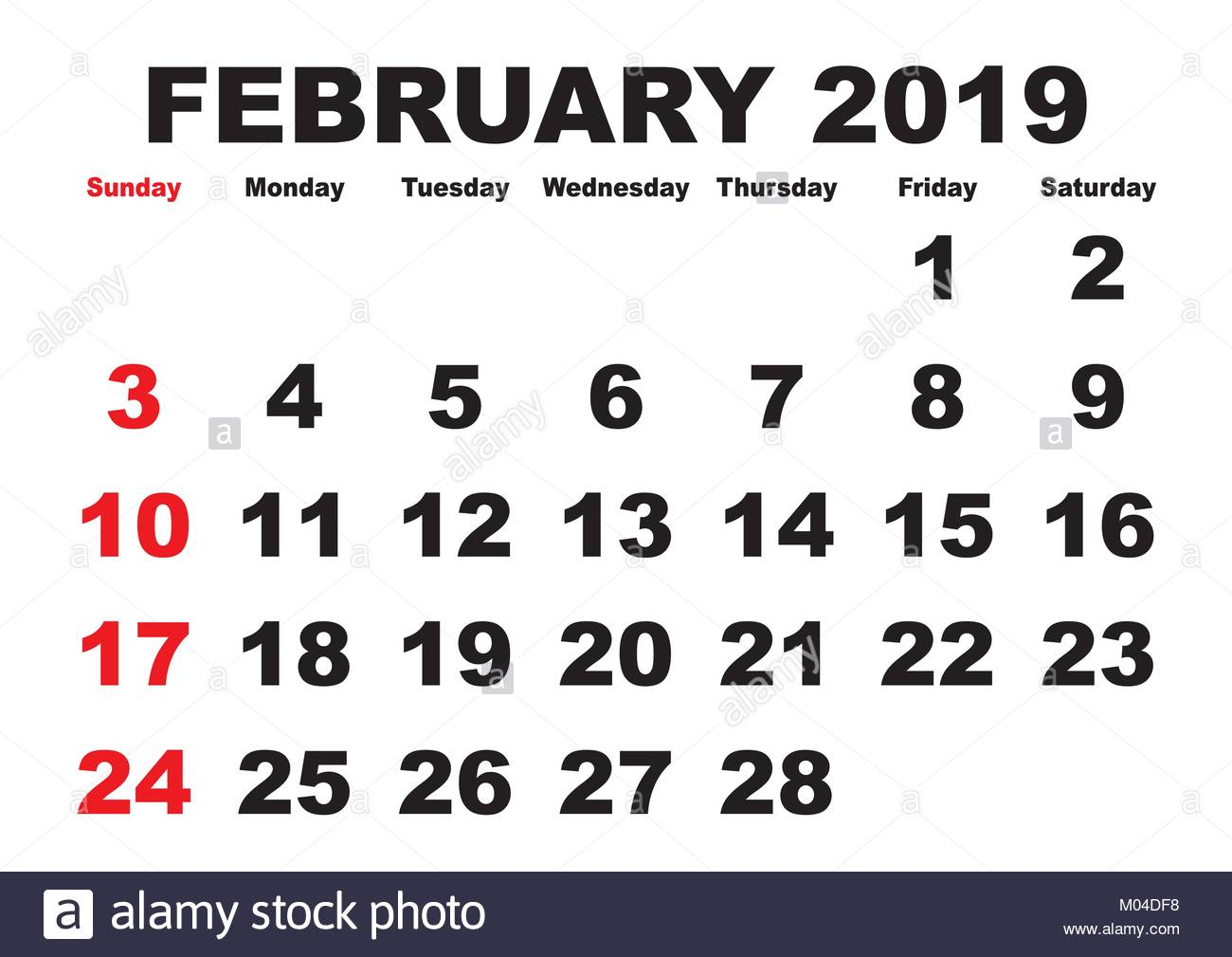 2019 calendar February month  Vector printable calendar  Monthly