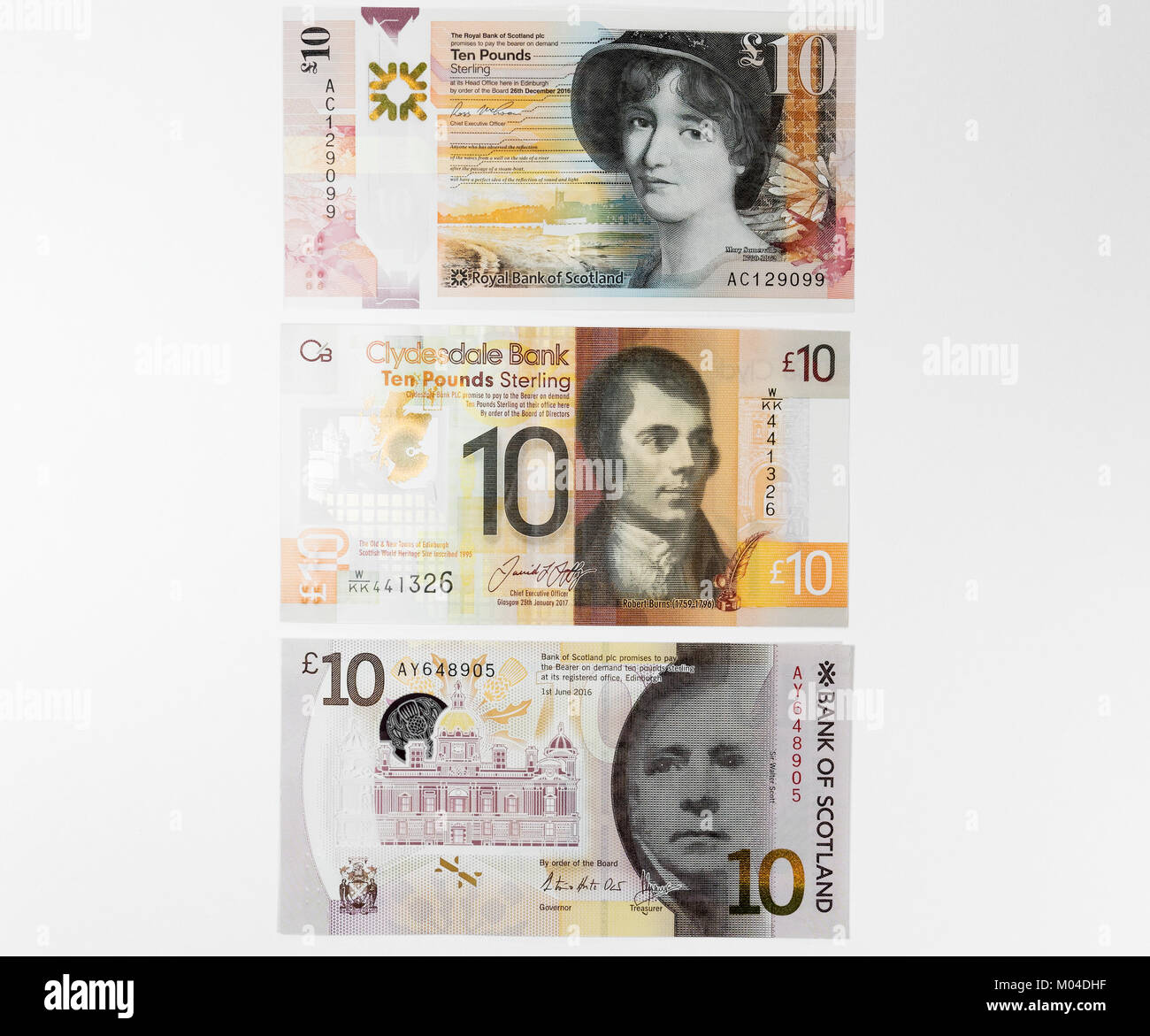 Scottish ten pound notes from Royal Bank of Scotland, Clydesdale Bank and Bank of Scotland featuring Mary Somerville,Robert - Stock Image
