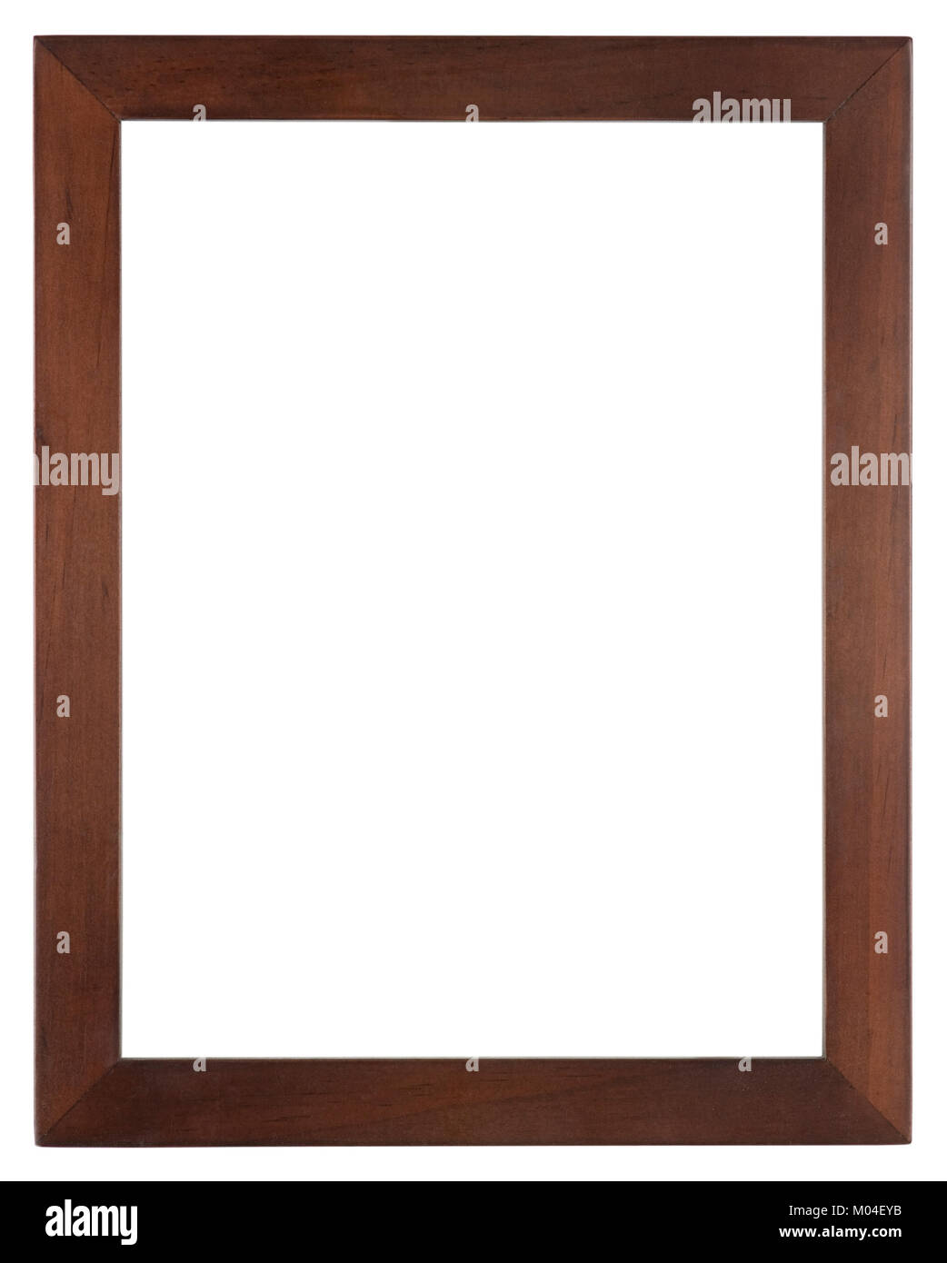 Empty picture frame isolated on white, portrait format in dark stained wood - Stock Image