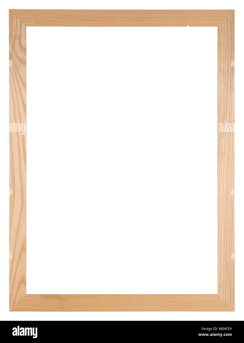Empty picture frame isolated on white, portrait format in light oak wood - Stock Image