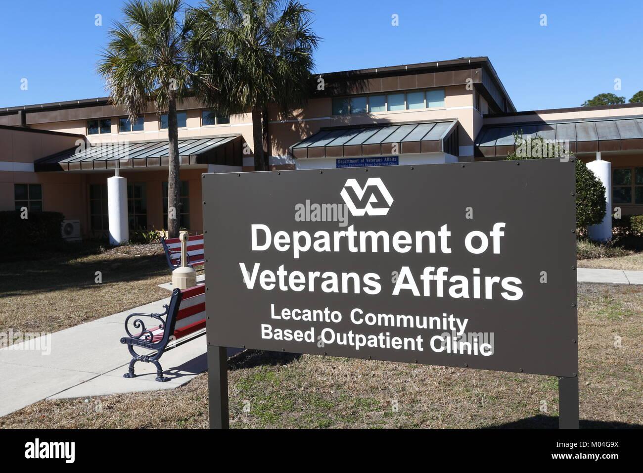 Department of Veterans Affairs sign, Lecanto, FL - Stock Image