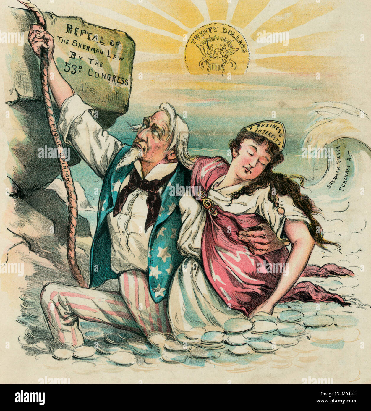 Out of the silver flood! Uncle Sam trying to climb out of a flood of silver coinage toward elevated ground labeled - Stock Image