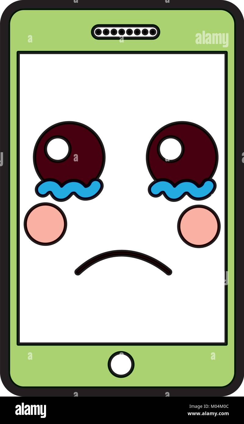 Sad Cellphone Kawaii Icon Image Stock Vector Image Art Alamy