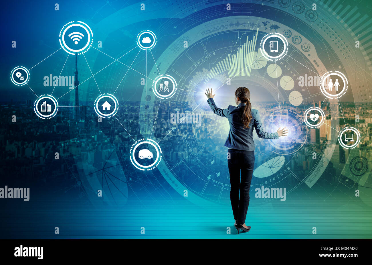 IoT(Internet of Things) concept. Fintech(Financial Technology). ICT(Information Communication Technology). Smart Stock Photo