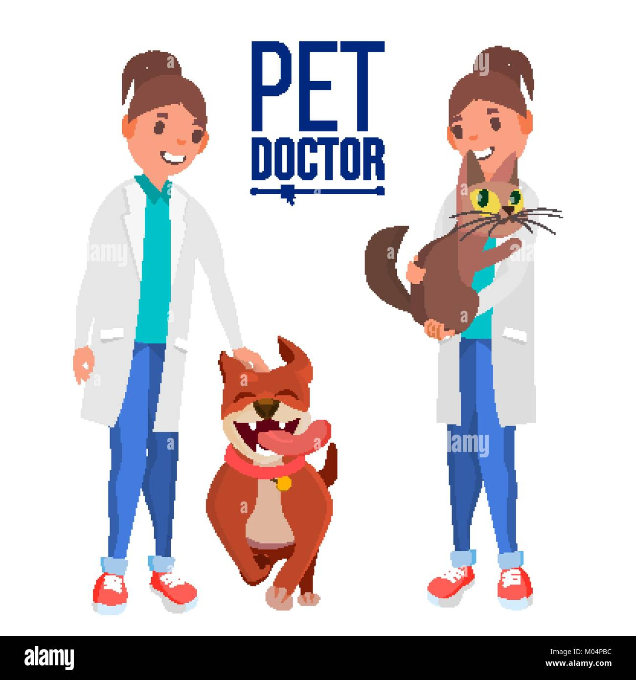 Veterinarian Female Vector. Dog And Cat. Medicine Hospital. Pet Doctor, Nurse. Health Care Clinic Concept. Isolated - Stock Vector