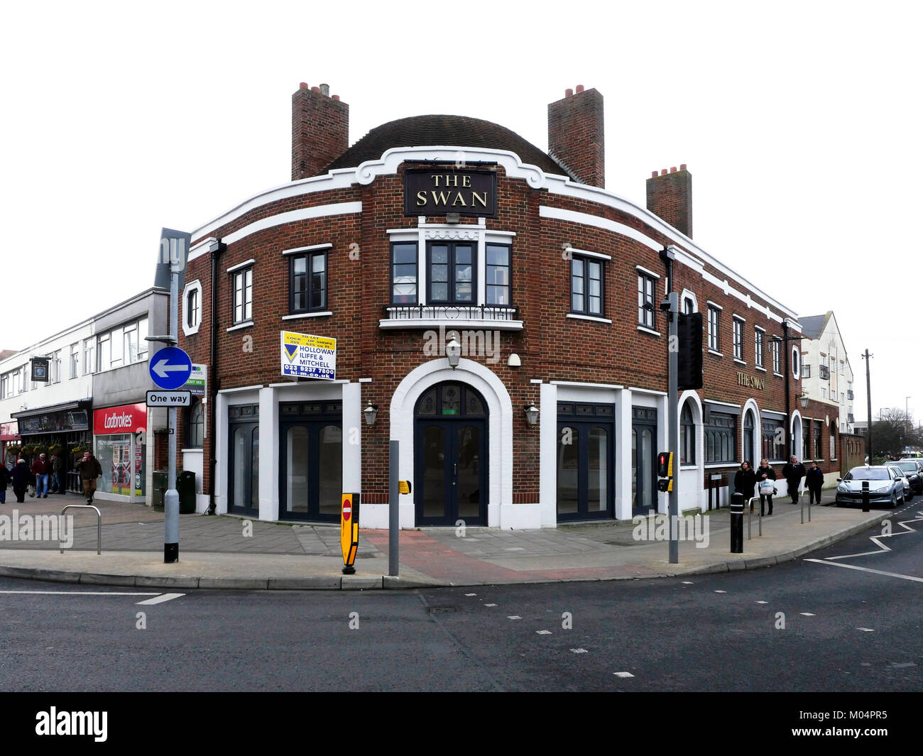 The Swan Public House converted into small retail units, available to rent in High Street, Cosham, Portsmouth, Hampshire, Stock Photo