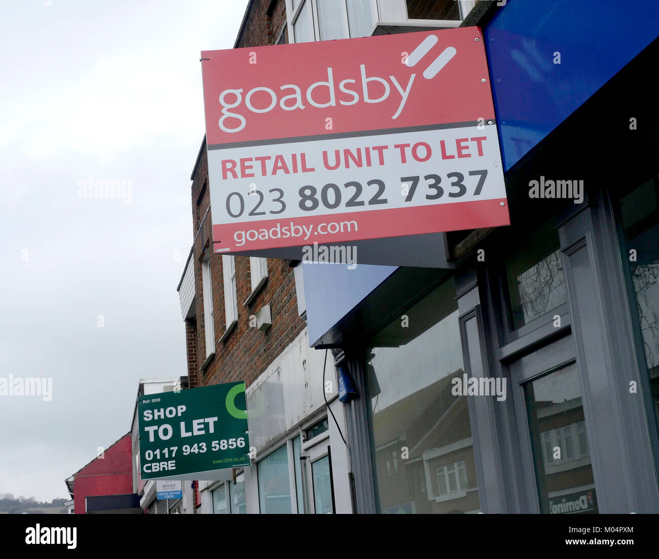 To let signs on High Street in Cosham, Portsmouth, Hampshire, England, UK Stock Photo