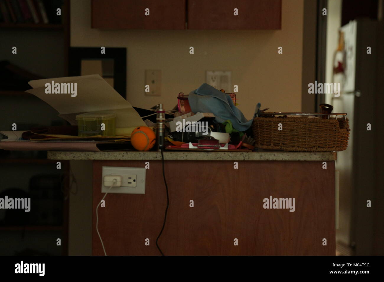 Messy house kitchen counter - Stock Image
