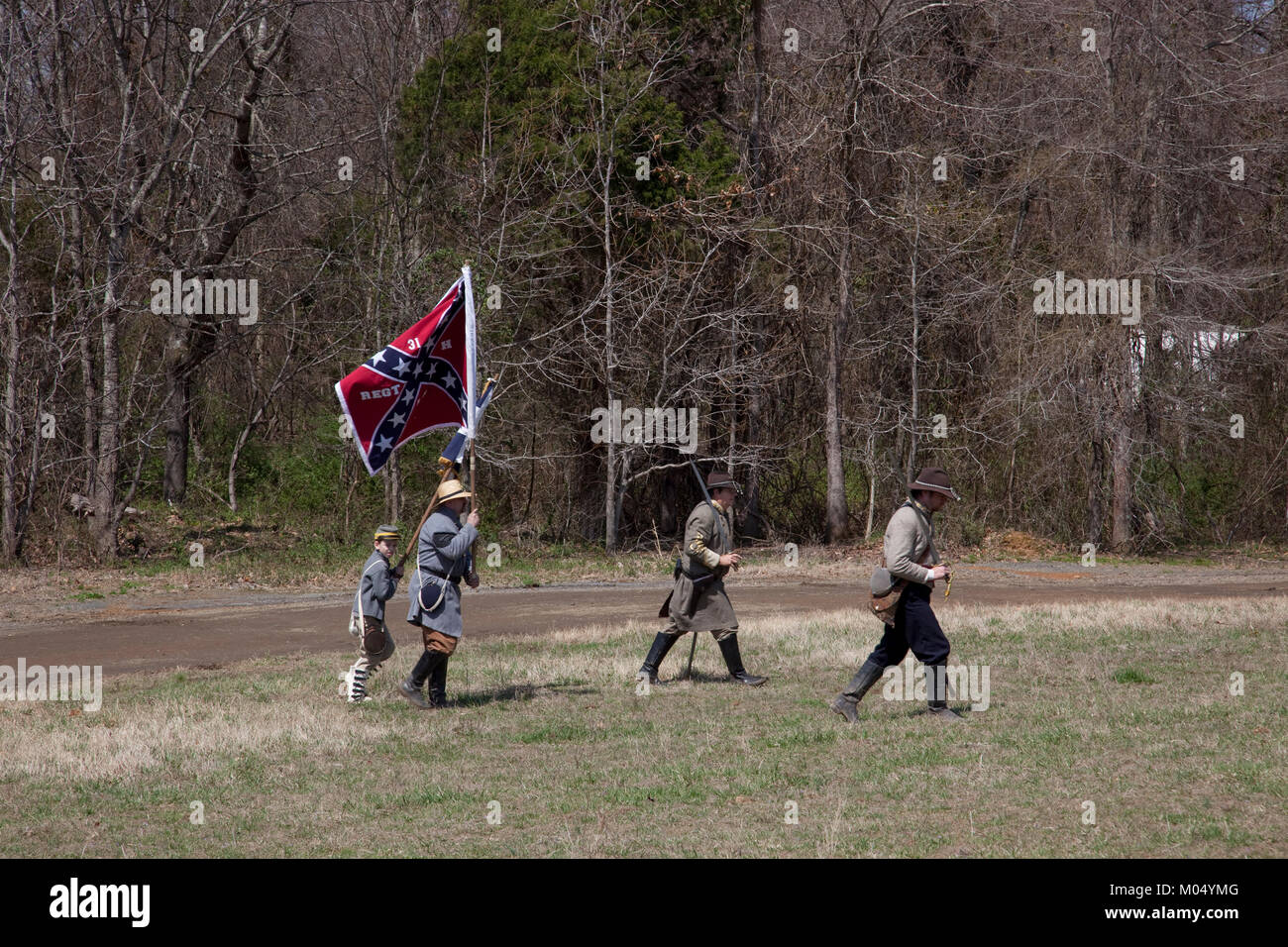 Reenactment of Civil War siege Stock Photo