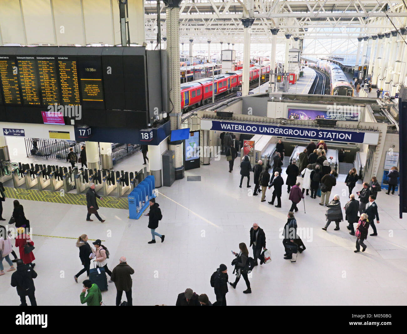 Waterloo Underground Station alongside the trains in London - Stock Image