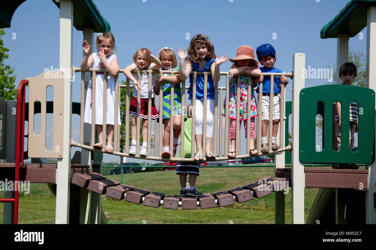 Children on playground at Rise School, Tuscaloosa, Alabama - Stock Image