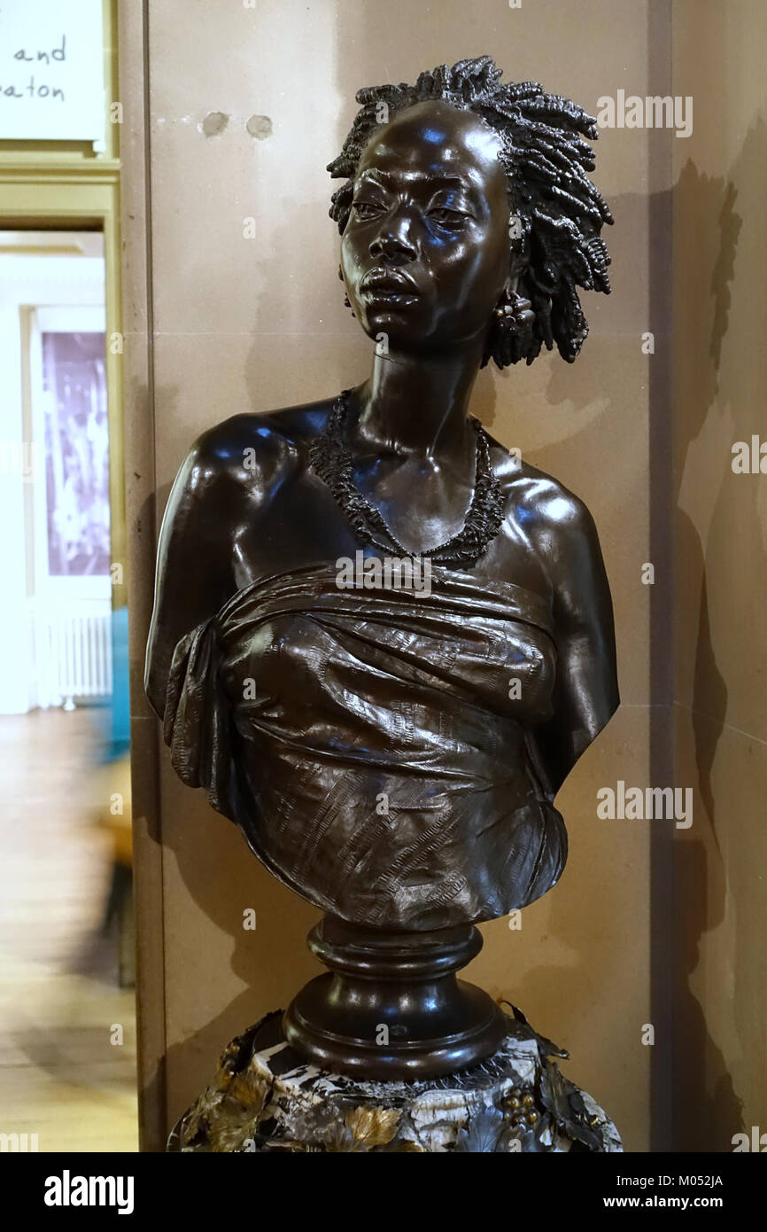 Bust of an African Woman, 1851, by Charles-Henri-Joseph Cordier, bronze - Chatsworth House - Derbyshire, England Stock Photo