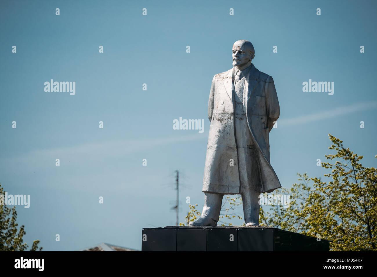 Dobrush, Belarus. Statue Of Vladimir Lenin In Lenin Square Stock Photo