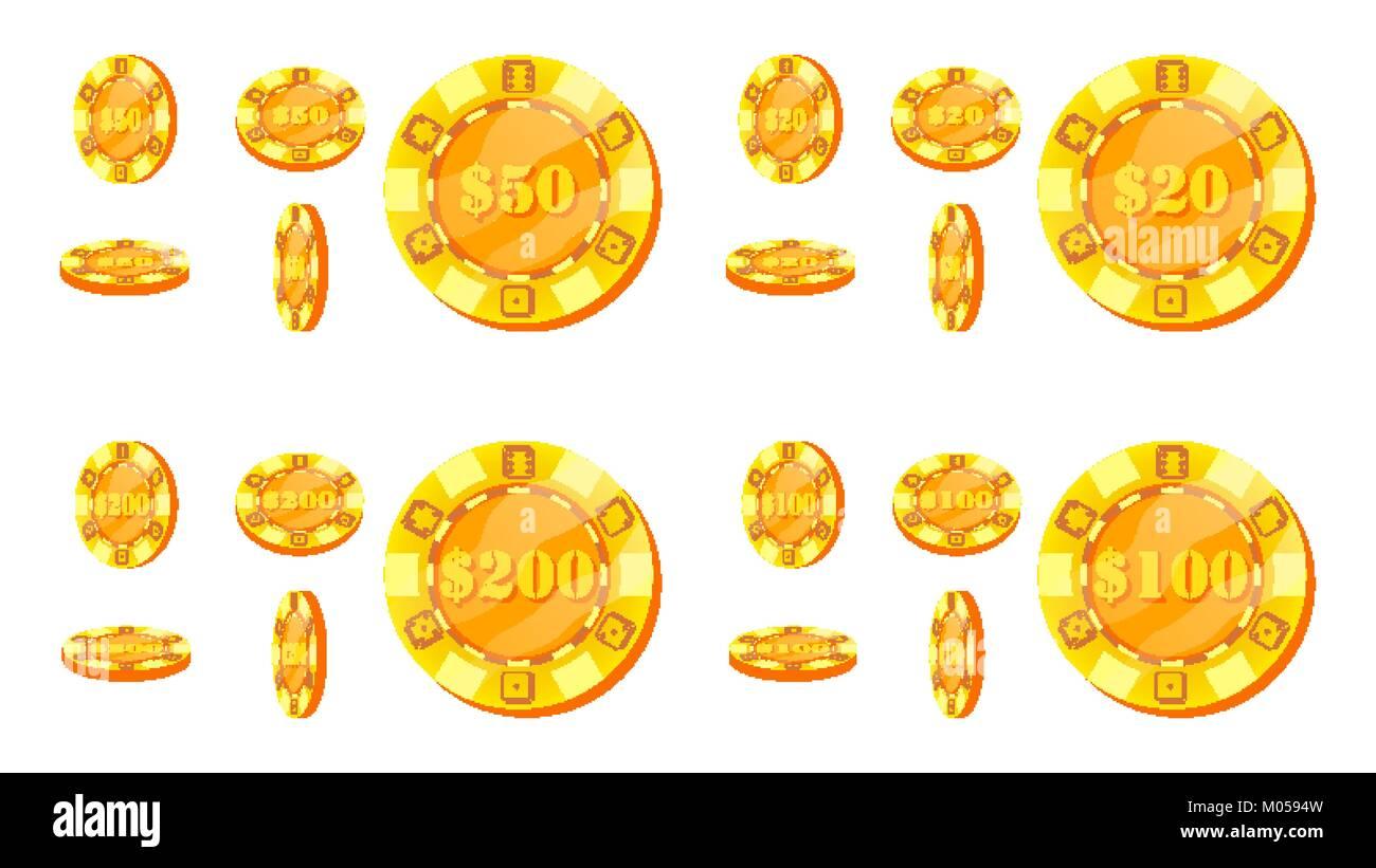Poker Chips Vector  Flat, Cartoon Set  20, 50, 100, 200